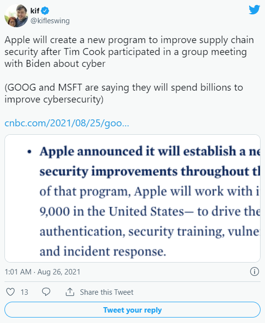 Apple commits to a new supply chain security program after Tim Cook's meeting with President Joe Biden