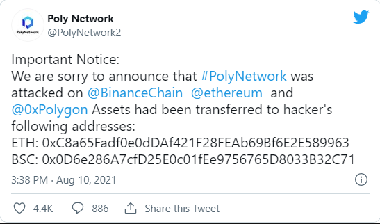 Poly Network hack steals $600 million and Hacker Returns $1million