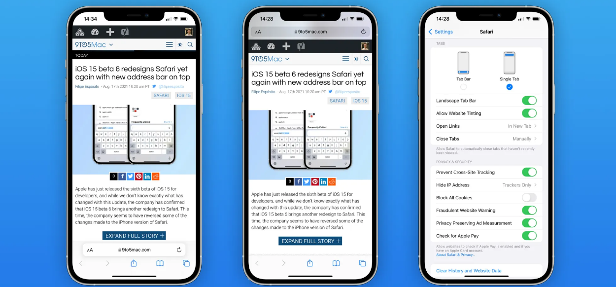 et Another Safari Redesign on iOS 15