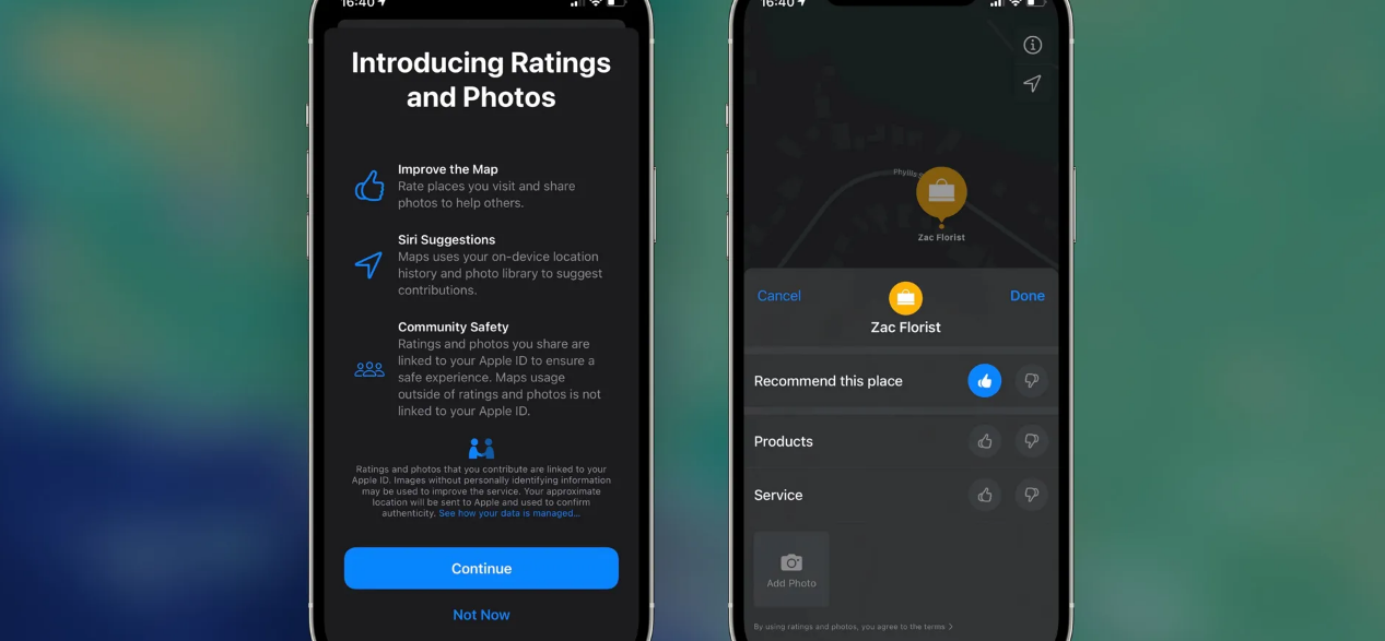 Now Apple Native Maps Photo and Ratings System Available in the US